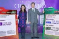 Justin Chiu (right), executive director of CK Property, announces sale details of Crescendo in Yuen Long. Photo: Handout