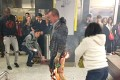 A man was seen on fire in the MTR station on Friday. Photo: Facebook