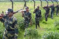 Indian security personnel patrol the border with Bangladesh. Photo: AFP