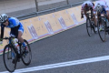 Yang Qianyu crosses the finish at the end of the 89.6km road race at the Asian Cycling Championships in Bahrain. Photos: Handout