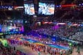 Competitors file in to Quicken Loans Arena in Cleveland, Ohio for the opening ceremony of the Gay Games 2014. Photo: Alamy