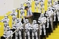 Huge figures of Stormtroopers from the Star Wars films stand guard at the The Legend of Hong Kong Toys exhibition in the Museum of History. Photo: Felix Wong