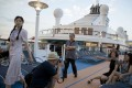 A file picture of Chinese passengers on a cruise ship calling at the northern port of Tianjin. Photo: AP