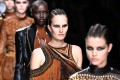 Models present creations by Balmain during the women's Fall-Winter 2017-2018 ready-to-wear collection fashion show in Paris. Photo: AFP