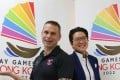Co-chair of Gay Games Hong Kong Bid Team Dennis Philipse (left) and Benita Chick attend the Gay Games Briefing. Photo: Dickson Lee