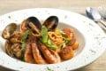 Mezzo's organic wholewheat spaghetti with seafood in tomato sauce.