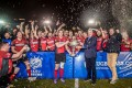 Societe Generale Valley celebrate winning their fifth consecutive grand championship in the Hong Kong Premiership. Photos: HKRU
