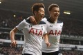Tottenham Hotspur's Son Heung-Ming celebrates scoring a goal with teammate Dele Alli against Millwall in the English FA cup quarter-finals. Photo: EPA