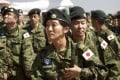 In this November 21, 2016 file photo, members of the Japan Self-Defence Forces arrive as peacekeepers in South Sudan. Photo: AP