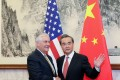 US Secretary of State Rex Tillerson pictured with China's Foreign Minister Wang Yi (right) at the Diaoyutai State Guest House in Beijing on Saturday. Photo: Reuters