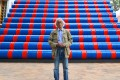 Bulgarian artist Christo poses in front of his monumental Mastaba artwork at the Maeght Foundation in Saint-Paul-de-Vence, southeastern France, in 2016. He wants to build a far bigger one in the United Arab Emirates. Photo: AFP