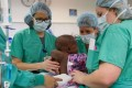 Baby Dominique is prepared for surgery at Advocate Children's Hospital. Photo: Advocate Children's Hospital