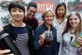 Ann Kildahl, HKU's sustainability manager (centre), with her team (from left) Joy Lam, Nik Sam, Yuki Chan and Maegan Cowan. Photos: Jonathan Wong