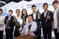 Winners of Hong Kong Sports Stars (left to right)Wong Chun-ting, Tang Wai-lok, Ng On-yee, Sarah Lee Wai-sze, Mak Cheuk-yin, Michael Cheng Chun-leung, Cheung Ka-long and Leung Yuk-wing (front). Photo: K. Y. Cheng