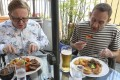 The Post's Kevin McCardle (left) tucks into roast beef, while Mark Sharp samples the roast lamb at Steamers in Sai Kung. Photo: David Wong