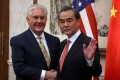 US Secretary of State Rex Tillerson shakes hands with Chinese Foreign Minister Wang Yi before a bilateral meeting at the Diaoyutai State Guesthouse in Beijing on March 18. Photo: Reuters