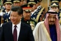 Saudi King Salman (right) pictured with President Xi Jinping at a welcome ceremony at the Great Hall of the People in Beijing earlier this month. Photo: Reuters