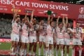England players celebrates after winning the World Sevens Cape Town leg in December. Photo: AFP