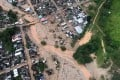 An aerial view of a portion of Mocoa, Colombia, after an avalanche of water from an overflowing river swept through the city as people slept. Photo: AP