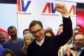 Serbian Prime Minister and presidential candidate Aleksandar Vucic celebrates his win in presidential election at his headquarters in Belgrade on Sunday. Photo: Reuters
