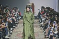 A floor-length, fern green trench coat wrapped in a series of belts and sashes was the highlight of the JKoo autumn-winter 2017 show at Seoul Fashion Week, Korea. Photo: Justin Shin
