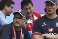 Hong Kong head coach Paul John and assistant Jevon Groves watch it all unravel against Chile yesterday. Photo: Jonathan Wong