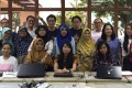 Participants and mentors at a coding class for Indonesian domestic workers in Singapore. Handout photo