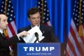 This file photo taken on June 22, 2016, shows Trump campaign chairman Paul Manafort checking the podium before Donald Trump speaks at an event in New York City.Photo: AFP