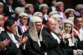 Rimsky Yuen Kwok-keung, Secretary for Justice; Geoffrey Ma Tao-li, the Chief Justice of the Court of Final Appeal; and Winnie Tam Wan-chi, chairman of the Hong Kong Bar Association, attend the Opening of Legal Year 2017 at Edinburgh Place, Central. Photo: Sam Tsang