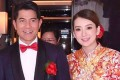 Aaron Kwok and wife Moka Fang at The Peninsula Hong Kong where they wed on Tuesday.
