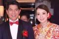 Aaron Kwok and wife Moka Fang at The Peninsula Hong Kong where they wed on Tuesday.