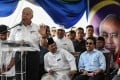 Malaysian Prime Minister Najib Razak speaks at a ceremony before the sailing of the Malaysian ship Nautical Aliya, carrying aid and supplies for Rohingya Muslims in Myanmar. Photo: AFP