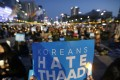 Protesters stage a rally near the US Embassy in Seoul to oppose a plan to deploy the THAAD missile system in South Korea. Photo: AP