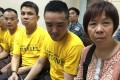 The accused (from left) Leung Shu-fook, Lo Wing-fai, Kwok Kam-wah and Chan Kwok-tung, and Chan's mother. Photo: Handout
