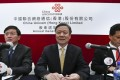 (From left) executive director and president Lu Yimin; chairman and chief executive Wang Xiaochu; and executive director and chief financial officer Li Fushen at the China Unicom (Hong Kong) briefing on Wednesday. Photo: Jonathan Wong