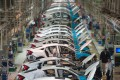 A file picture of a car factory in Hubei province. Photo: AFP
