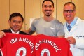 Dr Freddie Fu and fellow surgeon Volker Musahl with Zlatan Ibrahimovic. Photo: Freddie Fu