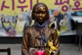 """A """"comfort woman"""" statue in front of Japanese embassy is pictured in Seoul. Photo: Reuters"""