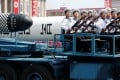 Military vehicles carry missiles with characters reading 'Pukkuksong' during a military parade marking the 105th birth anniversary of country's founding father, Kim Il Sung in Pyongyang last month. Photo: Reuters