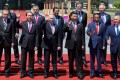 Leaders attending the Belt and Road Forum pose for a group photo at the Yanqi Lake venue on the outskirts of Beijing, on May 15. Front row, from left: Turkish President Recep Tayyip Erdogan, Vietnamese President Tran Dai Quang, Russian President Vladimir Putin, Xi Jinping, Indonesian President Joko Widodo and Kazakhstan President Nursultan Nazarbayev. Picture: Reuters