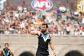 Port Adelaide's Charlie Dixon celebrates a goal as AFL makes it official debut in China. Photos: AFL Media