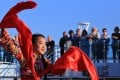 """A girl performs a folk dance during the opening ceremony of the """"Silk Road Stories"""" programme on board the Majestic Princess cruise ship in Rome, Italy, on Sunday. Photo: Xinhua"""