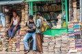 Indian students check out books at an old street stall in Kolkata in West Bengal.