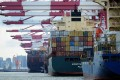 A file picture of cargo containers at Qingdao port in eastern China. Photo: AFP
