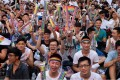 Same-sex activists cheer as they celebrate the landmark decision by the top court in Taipei, paving the way for Taiwan to become the first place in Asia to legalise gay marriage, on May 24. Photo: AFP