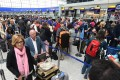 British Airways passengers wait at the baggage drop at Heathrow Airport in London on Monday, the third day of delays following a IT meltdown that disrupted 75,000 passengers' flights worldwide. Photo: EPA