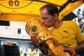Dortmund coach Thomas Tuchel kisses the trophy at Borsigplatz during celebrations after winning the German Cup. Photo: AFP