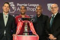 Premier League's Richard Masters, ex-Liverpool player Phil Babb, Crystal Palace U23 coach Mark Bright and HKFA chief Mark Sutcliffe pose with the Asia Trophy at the launch event on Thursday. Photo: Premier League