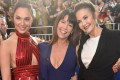 Gal Gadot (left), Patty Jenkins and Lynda Carter at the premiere of Wonder Woman in Hollywood. Photo: AFP