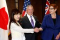 Japanese Defence Minister Tomomi Inada, US Secretary of Defence James Mattis and Australian Defence Minister Marise Payne pose before their trilateral meeting on the sidelines of the Shangri-La Dialogue in Singapore on Saturday. Photo: Reuters